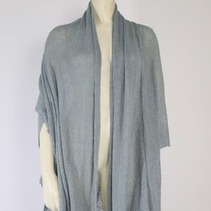 Handmade Blue Knitted Waterfall Cardigan Wrap